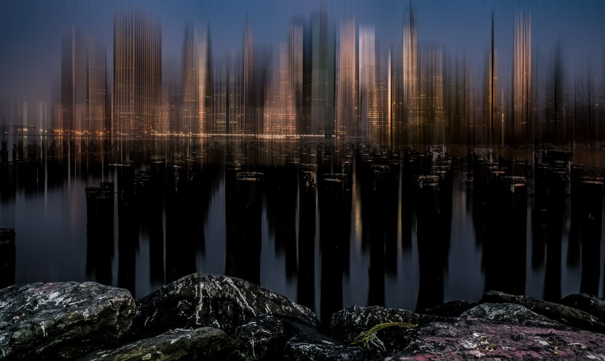 Lower Manhattan Night Skyline from Brooklyn Bridge Park With Pylons – Blur Version