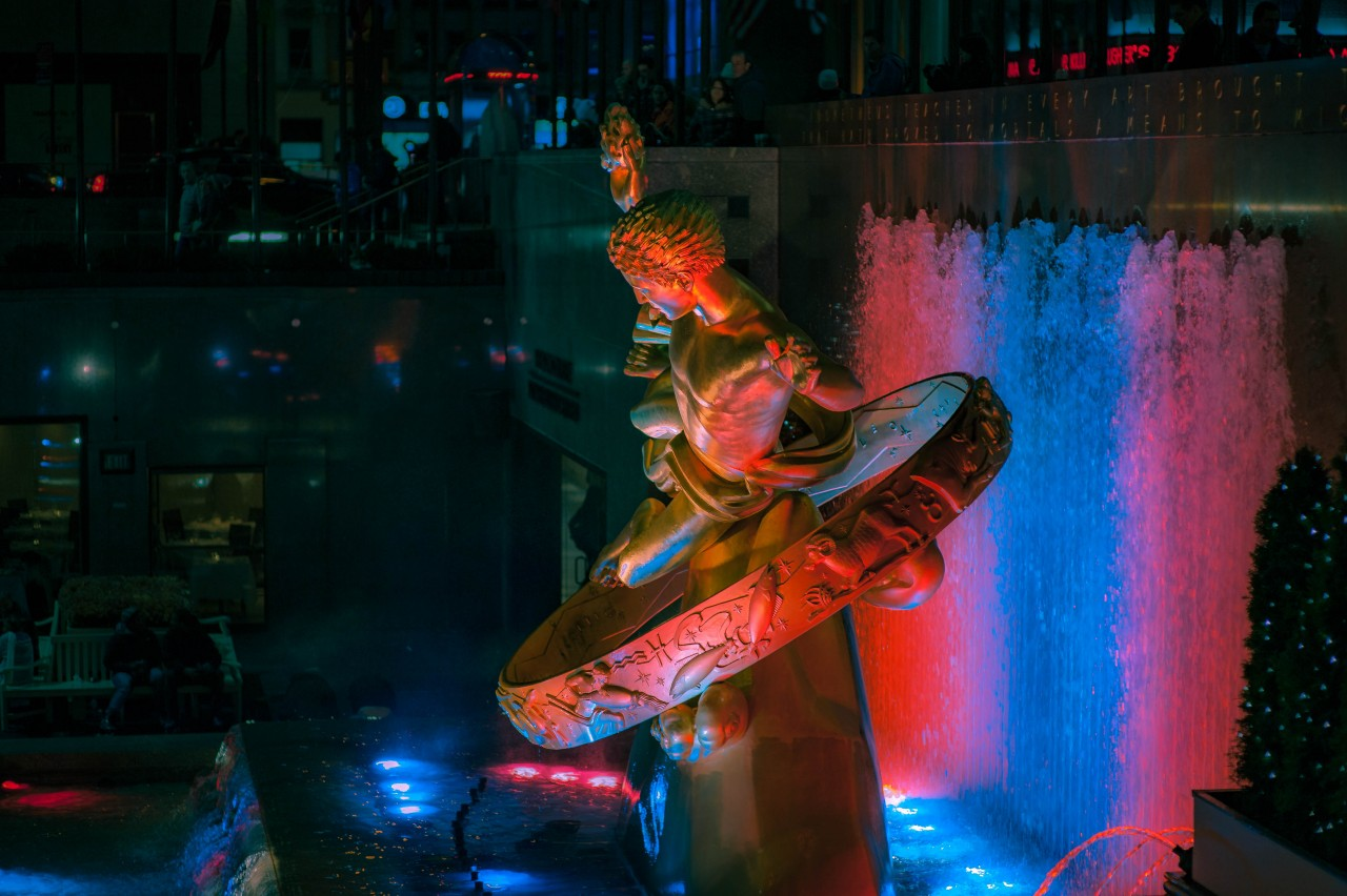 Prometheus At Night- Rockefeller Center