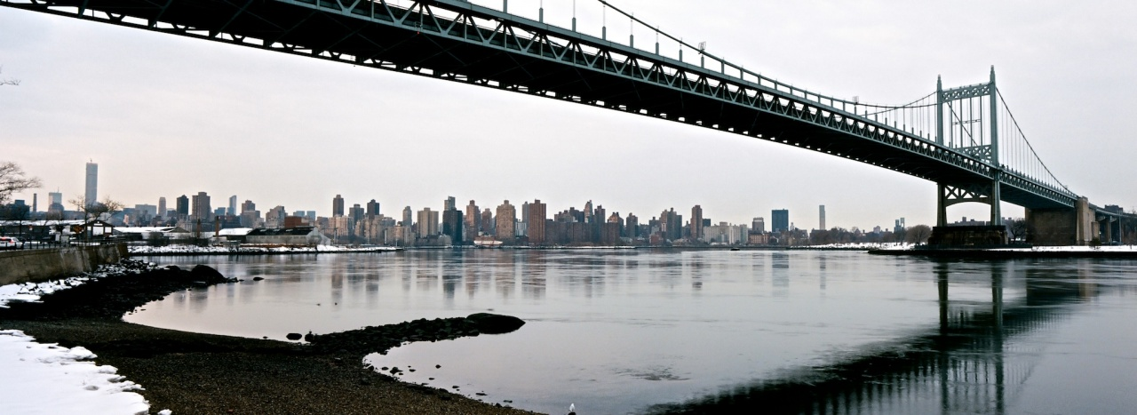 Triborough Bridge, Grey Morning, Skyline Panorama