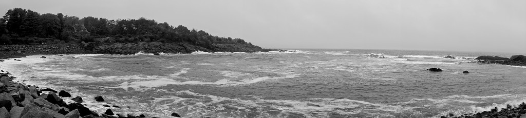 Oarweed Cove Panorama, Black and White – Perkins Cove, Ogunquit, Maine